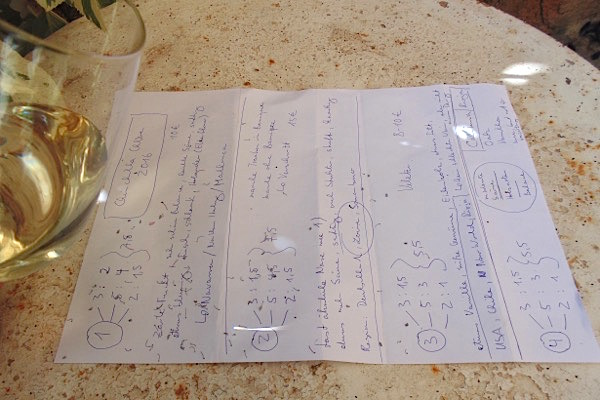 Chardonnay-Tasting, meine Notizen