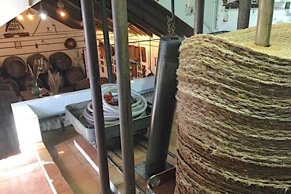 Zwischen Strohmatten und mit einer alten Hydraulikpresse werden die Trauben gequetscht.