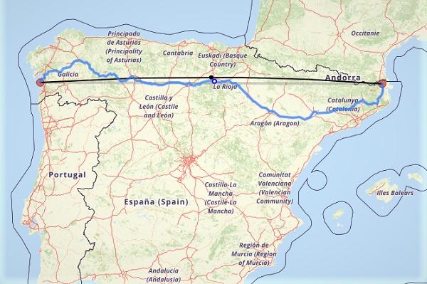 Der Breitengrad 42° 25' Nord. Einmal quer durch Nordspanien.