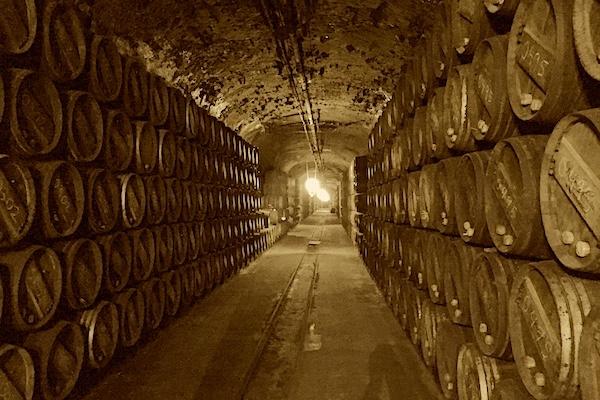 Der in Fels gehauene Keller El Calado. Bei Vina Tondonia, Haro, Rioja Alta