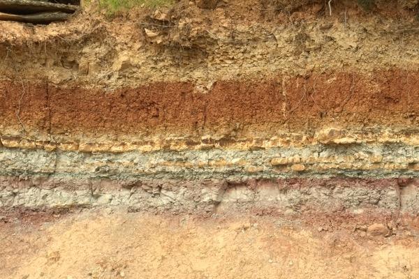 Tapàs genannter Boden: Grobkörniger Sandstein mit Tonmaterialien. Hier bei Edetària. D.O. Terra Alta
